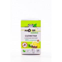 Салфетки влажные с эфирным маслом от комаров 10шт Nadzor NAT001