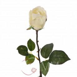 Цветок искусственный Роза ветка 65 см, прорезиненная белый