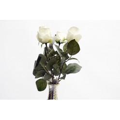 Цветок искусственная Роза в бутоне заснеженная №502
