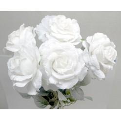 Цветок искусственная Роза распущенная заснеж. № 503