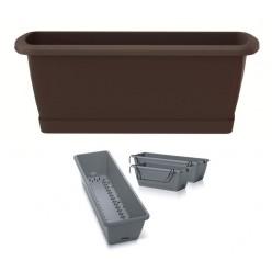 Ящик балконный RESPANA EASY CARE с системой полива, поддоном и крючками коричневый 60см