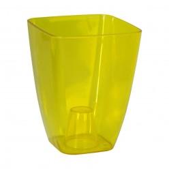 Кашпо пластмассовое Орхидея 13 квадрат желтый прозрачный 0300T-T01