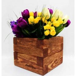 Кашпо деревянное 2,1 л (цвет махагон)  20х20х16 см