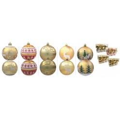 Шары елочные набор (6шт) 8см. пласт.золотые BAI2193