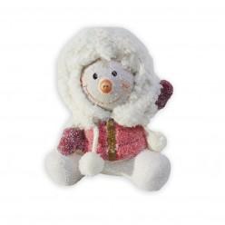 Снеговик керамич.14 см красный/зеленый арт. APF440070