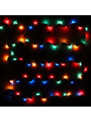 Гирлянда для дома MINI  3м 50 ламп чёрный провод, Мультицвет