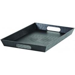Поднос пластмассовый с ручками 38х25х4см микс LUXL-278