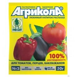 """Универсальное комплексное удобрение """"Агрикола"""" марки 3 (пак 50 гр  (томат, перец, баклажан ) 04-007"""